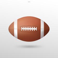 American football ball on white background. Vector illustration.