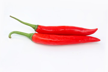 Red chilli on white