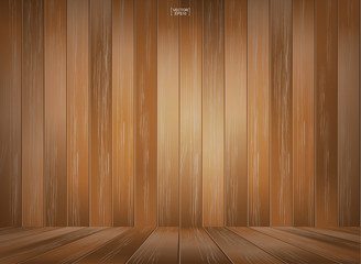 Wooden room space background. Vintage interior background with wood pattern texture. Vector illustration.