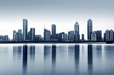 City panorama at dusk