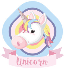 Logo design with unicorn and pink banner