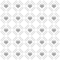 Seamless vector pattern. Modern geometric ornament with royal lilies. Classic vintage black and white background