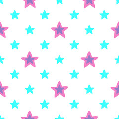 Seamless pattern with blue and pink stars. Vector illustration.