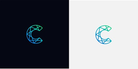 Abstract line art  logo. letter C logo template
