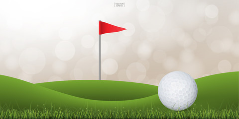 Golf ball on green grass of golf court with light blurred bokeh background. Vector illustration.