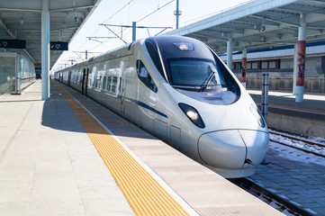 View of a CRH high-speed bullet train
