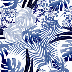 Seamless colorful tropical pattern with watercolor effect.Stylish pattern for textiles, bags, package design.