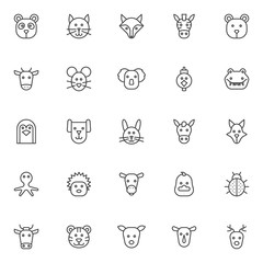 Animals outline icons set. linear style symbols collection, line signs pack. vector graphics. Set includes icons as panda head, cat, fox, zebra, bear, cow, mouse, koala, hen bird crocodile penguin