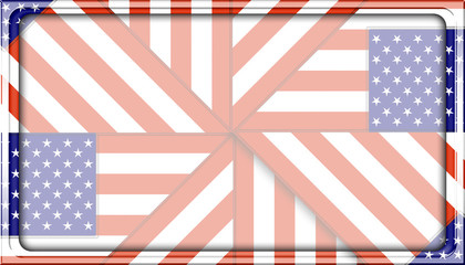 Stock Illustration - Framed Rectangle Empty Background For American Holidays, 3D, Template for American Holidays.