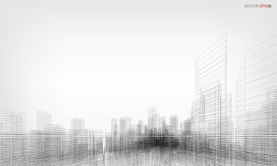 Fototapete - Perspective 3D render of building wireframe. Vector wireframe city background.