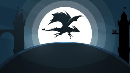 Dragon, castle illustration. Cartoon paper landscape Vector eps 10