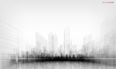 Perspective 3D render of building wireframe. Vector wireframe city background.