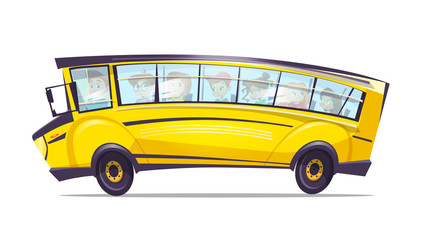 Vector cartoon school bus for pupil kids. Yellow retro vehicle, truck for elementary, high school students. Children education, transportation and travelling design concept, white isolated background