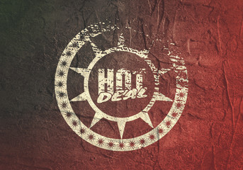 Abstract stamp. Graphic design element. Distressed grunge texture. Hot deal text