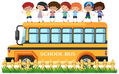 Many kids standing on school bus