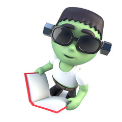 3d Funny cartoon frankenstein halloween monster reading a book