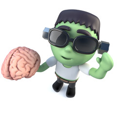 3d Funny cartoon frankenstein halloween monster holding a brain