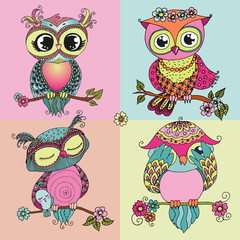 Four cute colorful owls sitting on tree branch