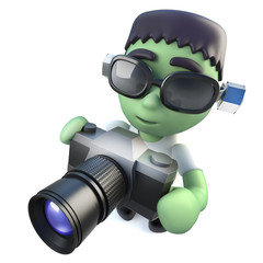 3d Funny cartoon frankenstein halloween monster holding a camera