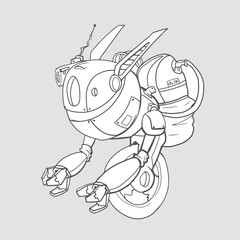 A robot with a gyro on one wheel. Artificial intelligence. Contour vector illustration, isolated