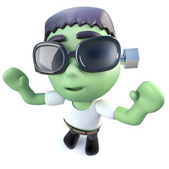 3d Funny cartoon frankenstein halloween monster cheering