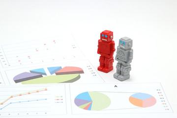 ロボットとグラフ 人工知能イメージ
