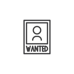Wanted poster outline icon. linear style sign for mobile concept and web design. Wanted criminal photo simple line vector icon. Symbol, logo illustration. Pixel perfect vector graphics