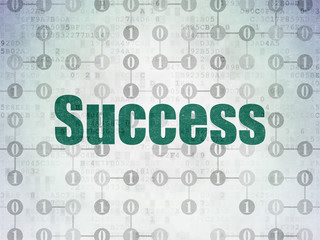 Finance concept: Painted green text Success on Digital Data Paper background with  Scheme Of Binary Code