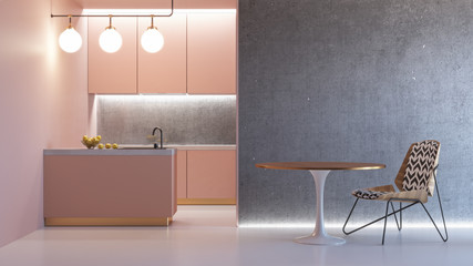 Kitchen pink minimalistic interior