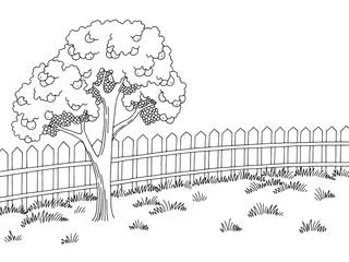 Garden graphic black white landscape apple tree sketch illustration vector