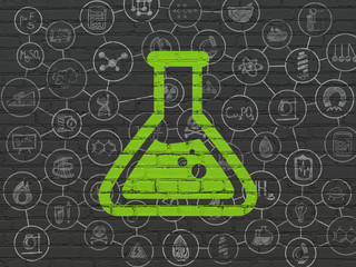Science concept: Painted green Flask icon on Black Brick wall background with Scheme Of Hand Drawn Science Icons