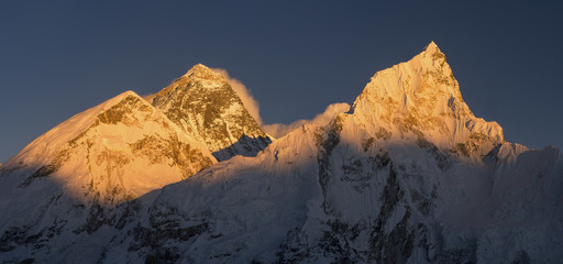 Everest and Nuptse summits at sunset or sunrise in Nepal