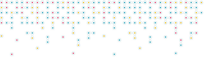 Seamless horizontal pattern from connected circles for site header background. Technological concept background with modern colored integrated metaballs for your web-site. Vector illustration