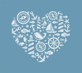 Sea heart background, blue, vector. Dolphin, fish and attributes sea travel. White icons in the shape of a heart. Vector picture. Hatching with a white pencil on a blue field. Imitation.