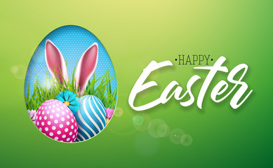 Vector Illustration of Happy Easter Holiday with Painted Egg, Rabbit Ears and Flower on Shiny Green Background. International Spring Celebration Design with Typography for Greeting Card, Party
