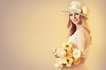 Beauty Model in Fashion Broad Brim Hat, Peony Flowers, Beautiful Woman Retro Portrait on Beige Background