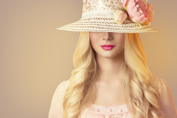 Fashion Model in Broad Brim Hat with Peony Flowers, Beautiful Woman Retro Makeup Red Lips and Long Hair Wall mural