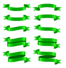 Set of green ribbon banners on white background