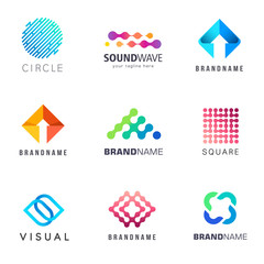 Collection of vector abstract logos for business.