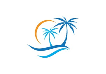 Palm tree summer logo template
