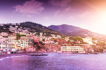 View from the sea to the Bogliasco during sunset - fishermen's Village of the Ligurian Riviera