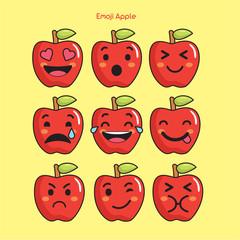 Apple fruit emoji, apple smile icons set, vector, cartoon, design, color