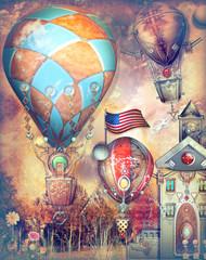 Mongolfiere steampunk in volo in un paesaggio fiabesco