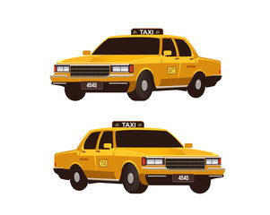 Retro yellow taxi cabs set. Isometric view. Commercial urban transport isolated on the white background.