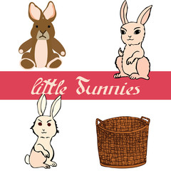 Set of little bunnies with basket for creating of Easter card. Vector illustrations.