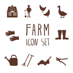 Set of cartoon silhouette farming and garden icons