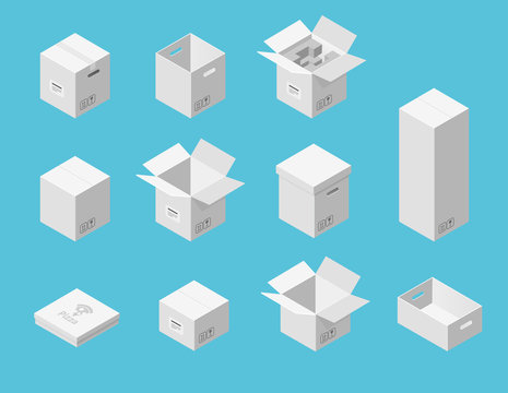 White carton packaging boxes set. Isometric view. Different size and format. Closed and open packages on blue background.