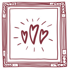 Square card with frame and doodle hearts, red on white background