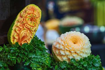 Orange Cantaloupe Melon Carving - Traditional Thai Art.