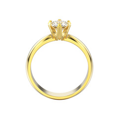 3D illustration isolated yellow gold solitaire engagement diamond ring